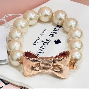 NWT Kate Spade All Wrapped Up Pearl Bow bracelet